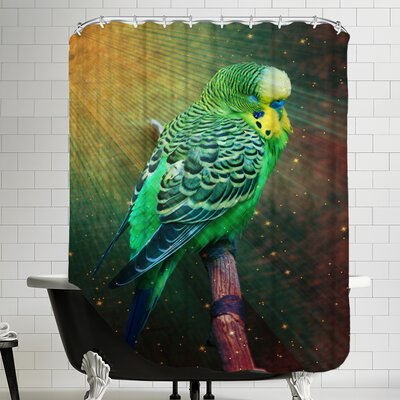 Budgie Bird with Stars Shower Curtain