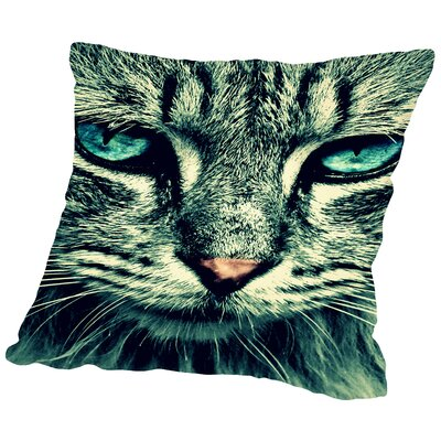 Cat with Special Eyes Throw Pillow Size: 20 H x 20 W x 2 D