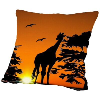 Giraffe with Sunset Throw Pillow Size: 16 H x 16 W x 2 D