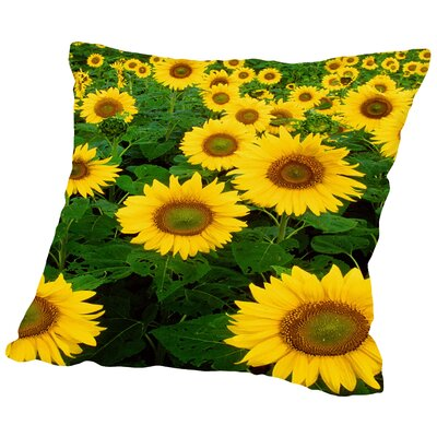 Sunflower Blossom Field Throw Pillow Size: 18 H x 18 W x 2 D