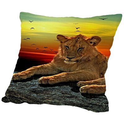 Lion Cat Savanna Africa Throw Pillow Size: 14 H x 14 W x 2 D