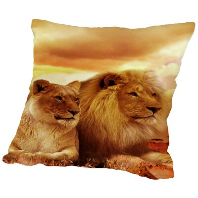 Lion Cat Savanna Cotton Throw Pillow Size: 14 H x 14 W x 2 D