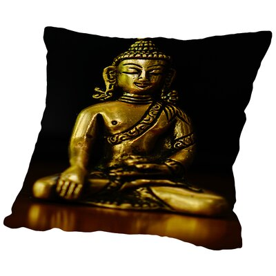 Buddha Yoga Symbol Cotton Throw Pillow Size: 14 H x 14 W x 2 D
