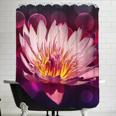 Lotus Flower With Bokeh Art Shower Curtain