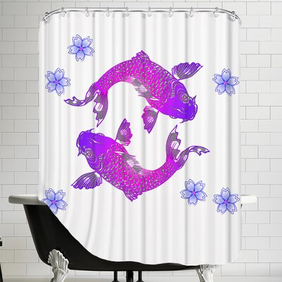 Asia Floral Koi Fish Shower Curtain