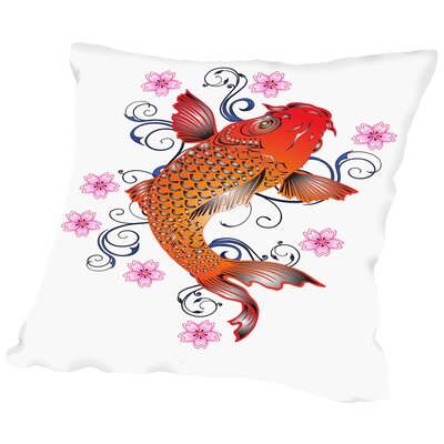 Orange Koi Floral Design Throw Pillow Size: 16 H x 16 W x 2 D