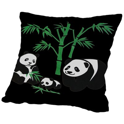 Panda Bear Family with Bamboo Throw Pillow Size: 16 H x 16 W x 2 D