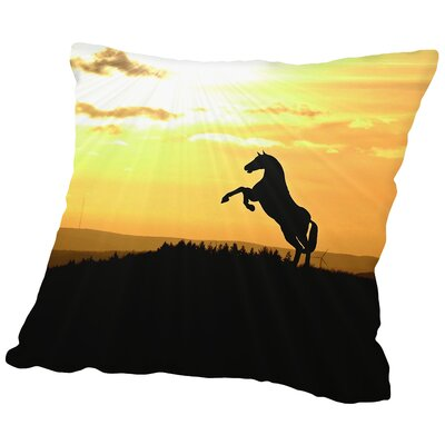 Animal Farm Sunset Throw Pillow Size: 18 H x 18 W x 2 D
