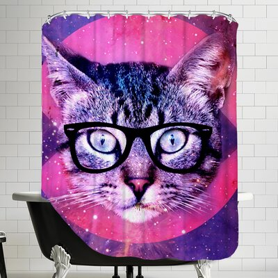 Cat with Glass Shower Curtain