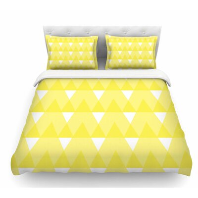 Triangles by Jackie Rose Custard Featherweight Duvet Cover Size: Queen