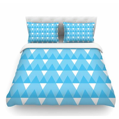 Cyan Triangles by Jackie Rose Featherweight Duvet Cover Size: Twin