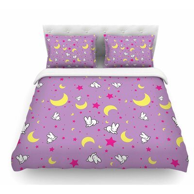 Goodnight Usagi by Jackie Rose Featherweight Duvet Cover Size: Queen