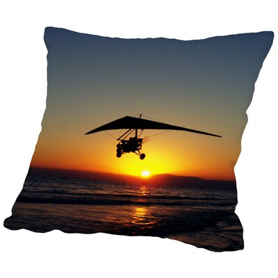 Sunset with Flying Throw Pillow Size: 14 H x 14 W x 2 D
