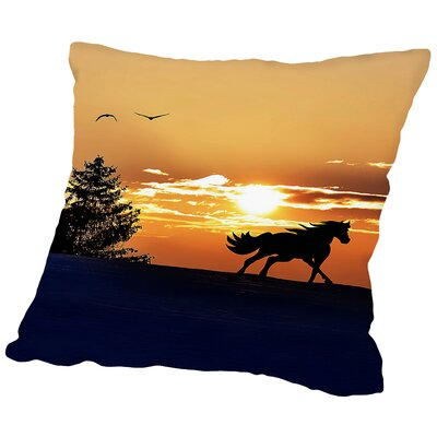 Sunrise Horse Clouds Nature Throw Pillow Size: 14 H x 14 W x 2 D