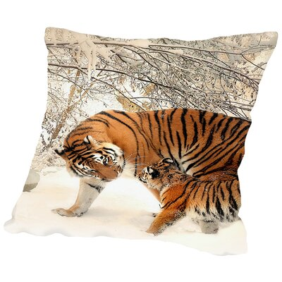 Tiger Family in The Snow Throw Pillow Size: 16