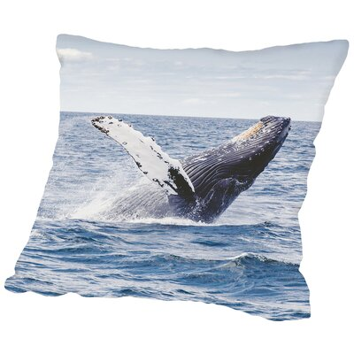 Whale Underwater Throw Pillow Size: 16 H x 16 W x 2 D