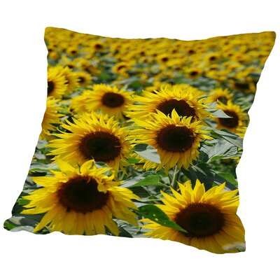 Sunflower Bloom Field Throw Pillow Size: 14 H x 14 W x 2 D
