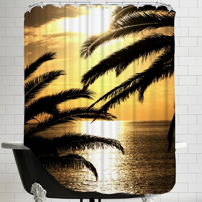 Sunset with Palm Leafs Travel Shower Curtain