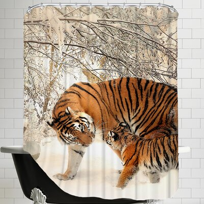 Tiger Family in the Snow Shower Curtain