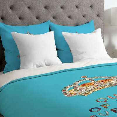Bianca Green Her Daily Motivation Lightweight Duvet Cover Color: Blue, Size: Queen