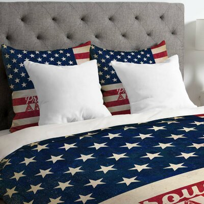 Anderson Design Group Proud to be an American Flag Lightweight Duvet Cover Size: Queen