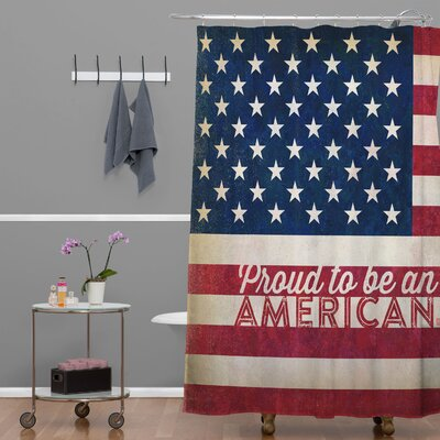 Proud to be an American Flag Polyester Shower Curtain