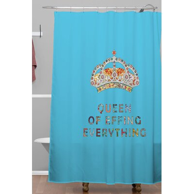 Her Daily Motivation Polyester Shower Curtain Color: Blue