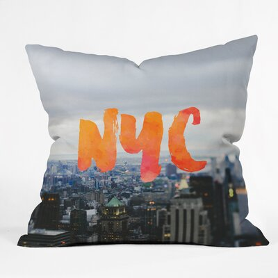 NYC Skyline Throw Pillow Size: 26 H x 26 W x 7 D