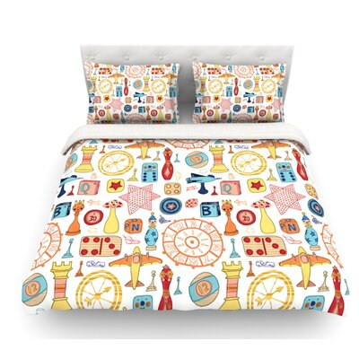 Vintage Games by Jane Smith Featherweight Duvet Cover Size: King, Fabric: Lightweight Polyester