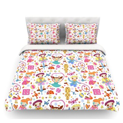 Vintage Playground IIII by Jane Smith Featherweight Duvet Cover Size: Queen, Fabric: Lightweight Polyester