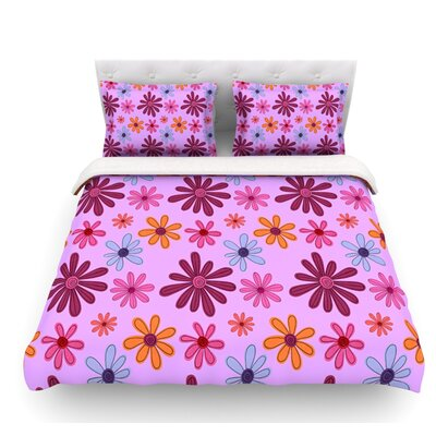 Woodland Floral by Jane Smith Flowers Featherweight Duvet Cover Size: Queen, Fabric: Woven Polyester