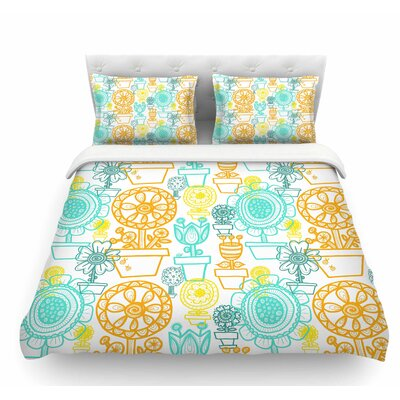 Potted Florals by Jane Smith Featherweight Duvet Cover Size: Queen