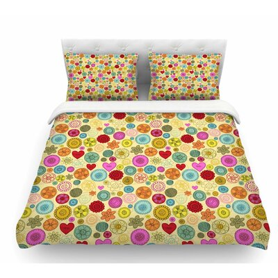 Vintage Buttons by Jane Smith Polkadot Featherweight Duvet Cover Size: Twin