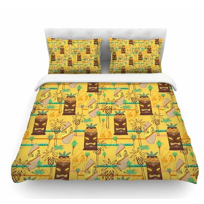 Surfing Tiki by Jane Smith Featherweight Duvet Cover Size: Twin