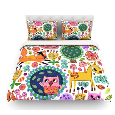 Woodland Critters by Jane Smith Colorful Cartoon Featherweight Duvet Cover Size: King