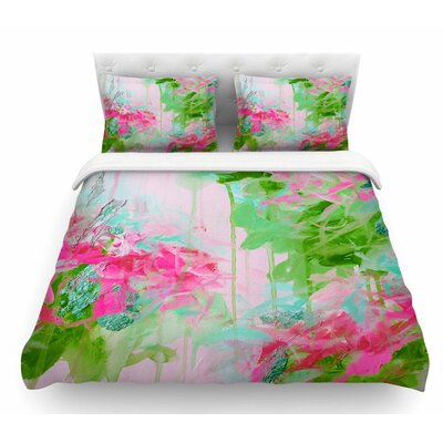Whispered Song by Ebi Emporium Featherweight Duvet Cover Size: Twin, Color: Pink/Green/Teal