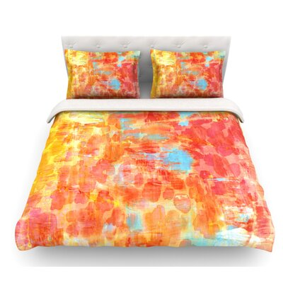 Pastel Jungle by Ebi Emporium Featherweight Duvet Cover Size: Twin, Color: Orange/Red, Fabric: Lightweight Polyester