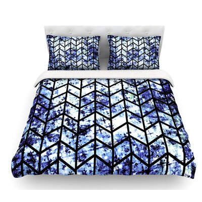 Chevron Wonderland by Ebi Emporium Featherweight Duvet Cover Color: Blue/Black, Size: King