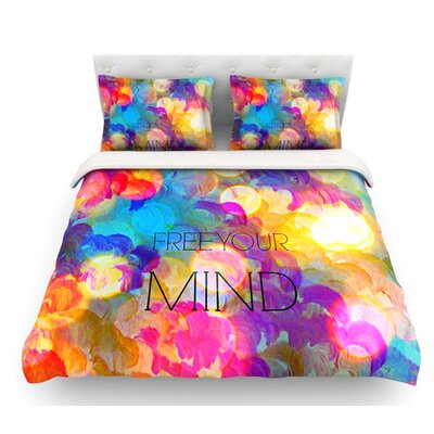 Free Your Mind by Ebi Emporium Featherweight Duvet Cover Color: Rainbow, Size: Queen, Fabric: Lightweight Polyester