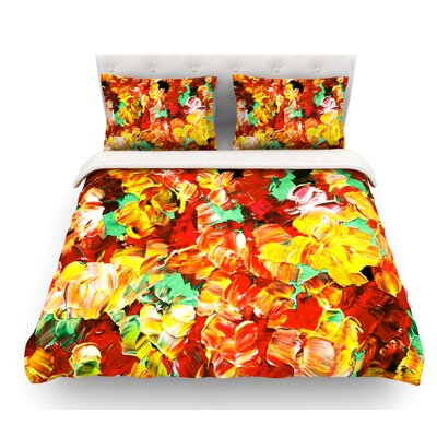 Floral Fantasy by Ebi Emporium Featherweight Duvet Cover Color: Orange/Yellow, Size: Queen, Fabric: Lightweight Polyester