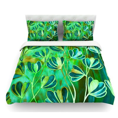 Efflorescence by Ebi Emporium Featherweight Duvet Cover Color: Blue/Teal/Green, Size: King