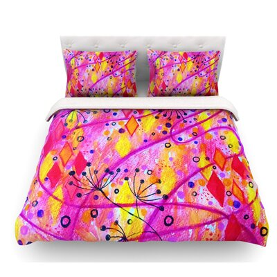 Into the Fall by Ebi Emporium Featherweight Duvet Cover Color: Pink/Yellow, Size: Queen, Fabric: Lightweight Polyester