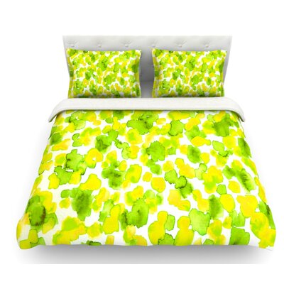 Giraffe Spots by Ebi Emporium Featherweight Duvet Cover Color: Lime/Green/Yellow, Size: Queen