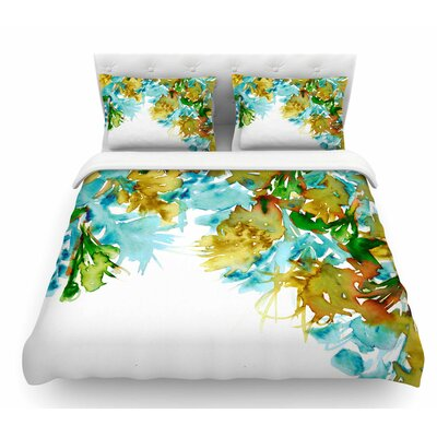 Floral Cascade by Ebi Emporium Featherweight Duvet Cover Color: Yellow/Green, Size: King