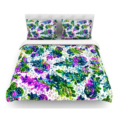 Prismatic Posy by Ebi Emporium Featherweight Duvet Cover Color: Purple/Green, Size: Queen