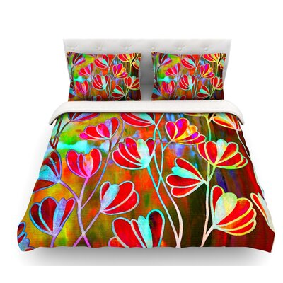Efflorescence by Ebi Emporium Featherweight Duvet Cover Color: Red/Multi, Size: King
