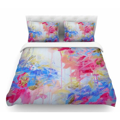 Whispered Song by Ebi Emporium Featherweight Duvet Cover Color: Blue/White, Size: King