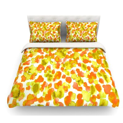 Giraffe Spots by Ebi Emporium Featherweight Duvet Cover Color: Orange/Yellow, Size: Queen