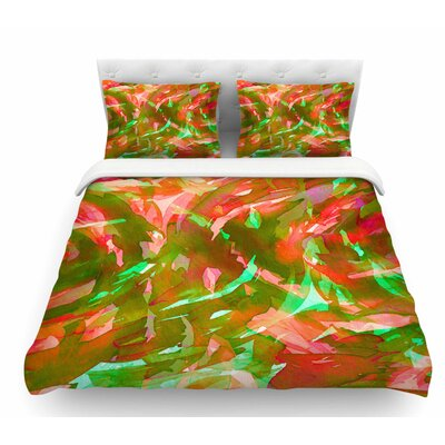 Motley Flow by Ebi Emporium Featherweight Duvet Cover Size: Twin, Color: Green/Red