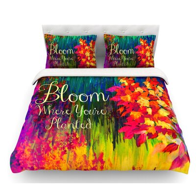 Bloom Where Youre Planted by Ebi Emporium Floral Featherweight Duvet Cover Size: Queen